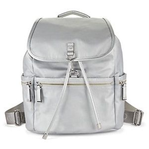 Calvin Klein Silver Nylon Flap Over Backpack
